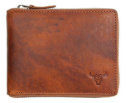 Cerniera portafoglio realizzato in solo vera pelle naturale resistente Cerniera portafoglio realizzato in solo vera pelle naturale resistente con toro