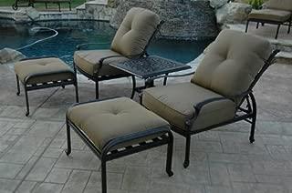 Theworldofpatio Elizabeth Cast Aluminum Powder Coated 5pc Outdoor Adjustable Club Chair Set with 21