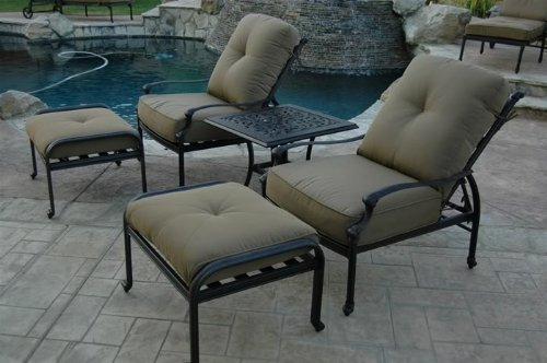 "Theworldofpatio Elizabeth Cast Aluminum Powder Coated 5pc Outdoor Adjustable Club Chair Set with 21"" Square Table - Antique Bronze"