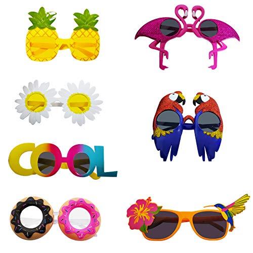 Poptrend - Juego de 7 pares de gafas de fiesta Luau, gafas hawaianas divertidas para fiestas de verano, regalos de fiesta para niños, decoración de fiestas temáticas en la playa...