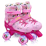 9-12 Size Adjustable Roller Skates Shoes for Kids Girls,Quad Skates for Women with Light Up Wheels , Roller Blades as Gift for Toddler Age 4-9 Children, Youth, Teenagers