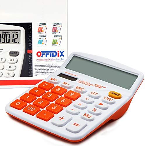 OFFIDIX Office Desktop Rechner, Solar und Akku Dual Power Elektronischer Taschenrechner Portable 12 Digit Große LCD Display Taschenrechner Orange