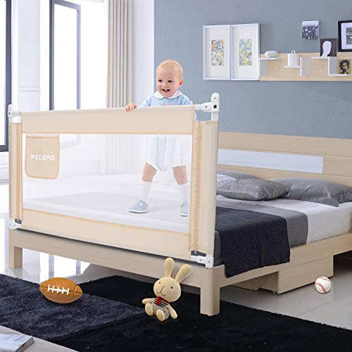 59 Inches Bed Rail for Toddlers Fold Down Safety Baby Bed Guard Swing Down Bedrail for Convertible Crib, Kids Twin, Double, Full Size Queen & King Mattress, Beige [Upgraded] (1 Pack)