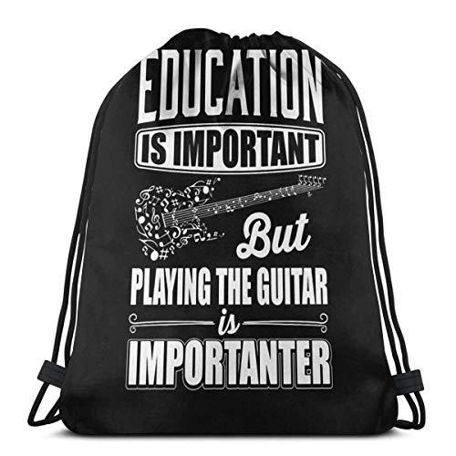 FVBV La educación es importante, pero tocar la guitarra es más importante Bolsa con cordón Bolsa deportiva Bolsa de viaje Bolsa de regalo Mochila deportiva, mochila escolar, bolsa de viaje