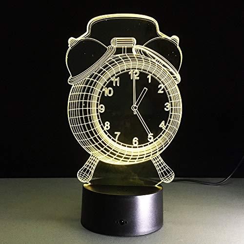 Mode Wecker 3D Illusion Lampe Nachtlicht Neben Tischlampe 7 Farben Ändern Touch Touch Kinderzimmer Dekoration Lampen Geburtstagsgeschenk mit Fernbedienung