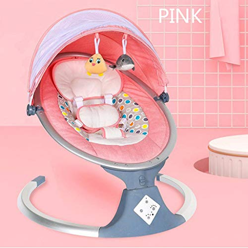 Portable Baby Swing Infant Bouncer, Automatic Swing with 5 Swing Speed and A Mosquito Net, Comfort Electric Baby Rocking Chair with Racing Seat Belt Design,Suitable for Babies from 0-18 Months