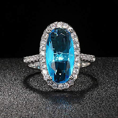 IWINO Klassieke Zilveren 925 Sieraden Ovale Edelsteen Ring Voor Vrouwen Grote Aquamarijn Aaa Zirkoon Vrouwelijke Verlovingsring Gift