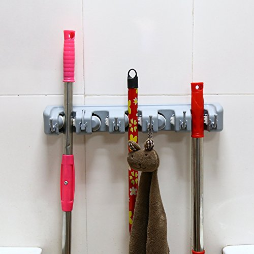 Greensen Besenhalterung Wand Mop Halter, Besenhalter Kunststoff Wandhalterung WC-Bürstenhalter mit 6 Haken, Gerätehalter Ordnungsleiste Wandhalter für Küche Badezimmer Garten, 2er-Set
