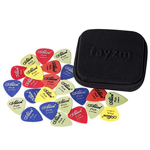 Rayzm Plettri Plectrum per Chitarra (Guitar plectrum Picks) 50pcs, Premium Assorted Delrin (POM) Picks per chitarra di diversi colori e 6 diversi spessori 0,49/0,58/0,71/0,89/0,98/1,12mm