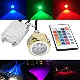 RGB Led Drain Plug Light - NSLUMO Underwater RGB Color Changing Cree Chip 9X3W 27W 1/2' NPT Drain Plug Lighting IR Control RGB LED Marine Boat Light