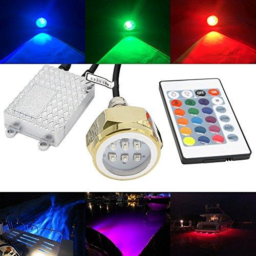 RGB Led Drain Plug Light - NSLUMO Underwater RGB Color Changing Cree Chip 9X3W 27W 1 2  NPT Drain Plug Lighting IR Control RGB LED Marine Boat Light