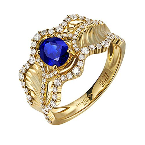 AmDxD Engagement Rings 18K Yellow Gold, with 1.06CT Oval Sapphire Ocean Wave Valentine Ring Promise Rings Womens Size J 1/2, Birthday for Women Mom Wife
