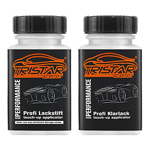 TRISTARcolor Autolack Lackstift Set für BMW 668 Jet Black Basislack Klarlack je 50ml