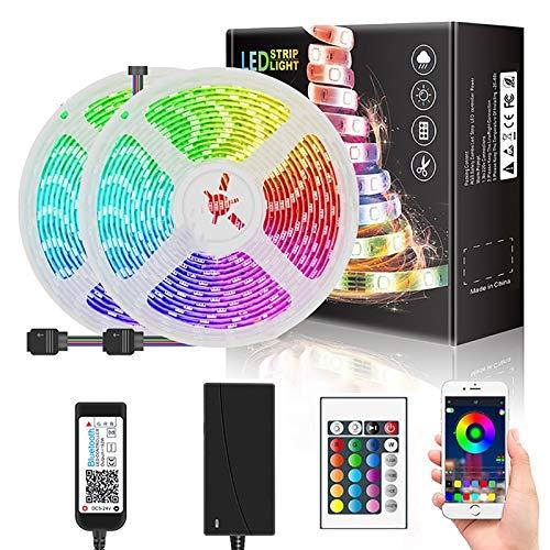 WRQING WIFI Tira LED RGB, Luces LED Smart de 16 millones de colores, Sync con Música, Control de voz, Program Persanalizado, Compatibles con Alexa y Google Assitant, Echo, Para Decoración