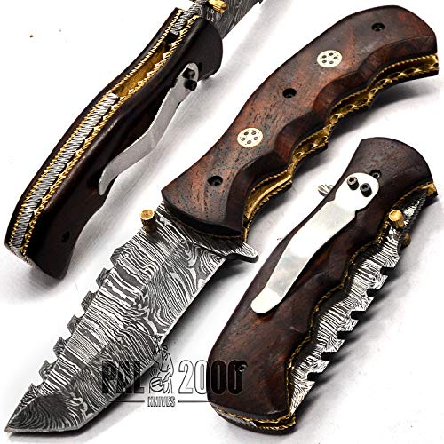 PAL 2000 KNIVES - 9328-S-GTM - Best Handmade Damascus Pocket Clip Knife - Beautiful Folding Knife with Sheath