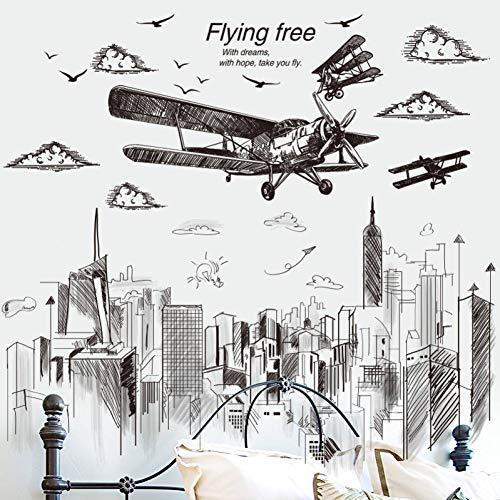 Preisvergleich Produktbild ZXFMT Wandaufkleber Skizze Typ Flugzeug Wandaufkleber PVC DIY Hohe Gebäude Wandtattoos Für Wohnzimmer Schlafzimmer Haus Dekoration