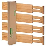 Bamboo Kitchen Drawer Dividers 4 Pack, 17-22 inches Long Adjustable Spring-loaded Organizer Durable Organization Separators for Large Utensil Drawers, Clothing Dresser Drawers