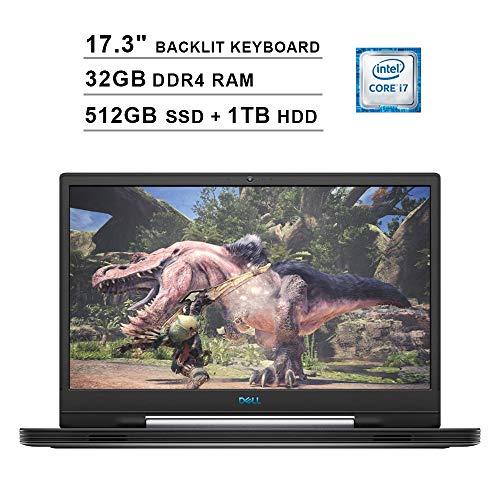 2019 Dell G7 17 7790 17.3 Inch FHD Gaming Laptop (9th Gen Intel 6-Core i7-9750H up to 4.50 GHz, 32GB DDR4 RAM, 512GB SSD + 1TB HDD, NVIDIA GeForce RTX 2060, RGB Backlit Keyboard, Windows 10) (Gray)