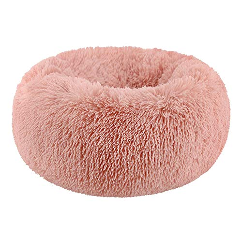 POPOTI Extra Large Dog Beds Sofa,Deluxe Fluffy Washable Round Dog Pillow Cat Cushion Pet Bed for Cat and Dog Snooze Sleeping Kennel (M-60cm, Pink)