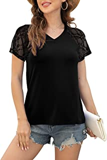 Sponsored Ad - POKWAI Women's V Neck T Shirts Summer Casual Short Sleeve Tops Lace Shirts