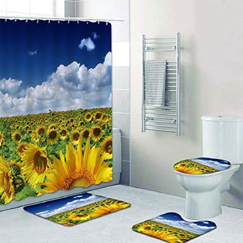 NIUPAN Juego de 4 piezas de cortina de ducha impermeable cielo azul y nubes blancas