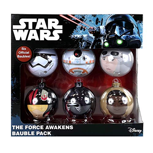 1 x Star Wars The Force Awakens 6PC Christmas Tree Tin Baubles Decoration Pack - 7.5cm x 7.5cm - Featuring 6 Different Designs.