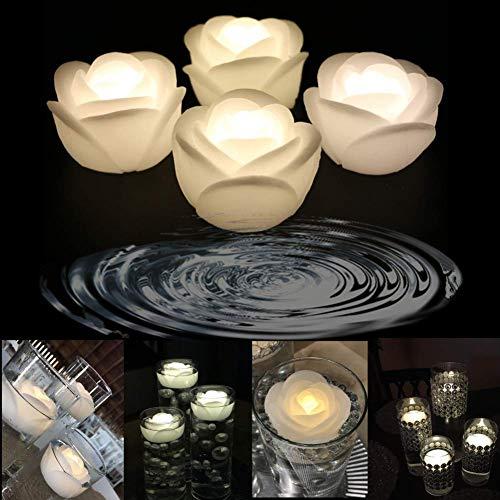 Lacgo LED-Kerzen, flackernd, flammenlos, flackernd, für Hochzeit, Zuhause, Party, 4 Stück, Rose, Weiß, 3''