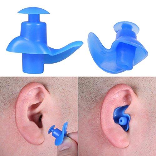 Iusun Swimming Earplugs, Professional Spiral Silicone Swimming Diving Screw Earplugs Waterproof RF (Bule)