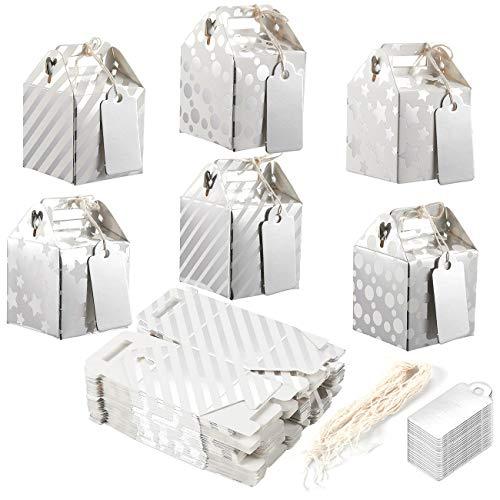 36 Stück Geschenkschachteln aus Pappe, Boxen für kleine Mitgebsel bei Partys, Geschenkboxen, Faltbare Schachteln mit Tragegriff und Giebel, silber, S