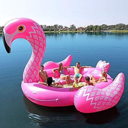 Filas Anillo De Natación Inflable del PVC 6 Personas Flamingo Isla Flotante Fila Cama-530cm Adultos Piscina Inflable del Flotador Juguetes Flotador del Agua del Verano De Los Niños B