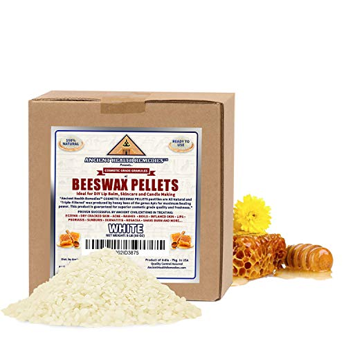 All Natural, Cosmetic Grade White Beeswax PELLETS PASTILLES. Bulk, Grade A, Triple Filtered Ideal for DIY Skincare, Candle Making & Lip Balm Projects (India). (5 LB)
