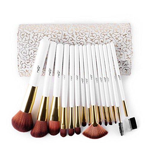 Brush Set 15pcs bambou blanc poignée Premium cheveux synthétiques doux teint Blush correcteur yeux visage poudre liquide crème cosmétique brosses avec étui en cuir d'unité centrale à tamponner