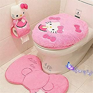 Eliphs 4PCS Hello Kitty Bathroom Set Toilet Cover WC Seat Cover Bath Mat Holder Pink/Rose Red (Pink)