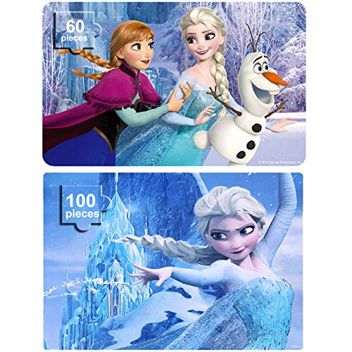 NEILDEN Disney Frozen Puzzles in Metal Boxes 100 Piece and 60 Piece Jigsaw Puzzles for Kids Ages 4-8 Puzzles for Girls and Boys (Frozen Set)