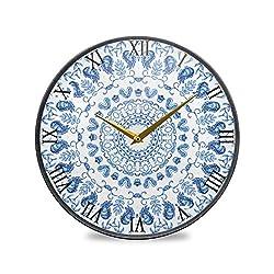 Glaphy Blue Vintage Mandala Silent Art Wall Clock Non-Ticking Acrylic Clocks Battery Operated Home Office School Bedroom Decor 9.5x9.5 Inch