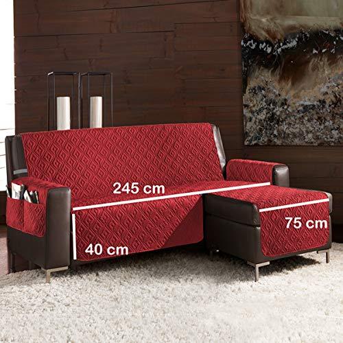 la biancheria di casa Slippy Plus CopriDivano Trapuntato Antiscivolo 3D (Seduta 245 cm Penisola Destra (Vista Frontale), bordò)