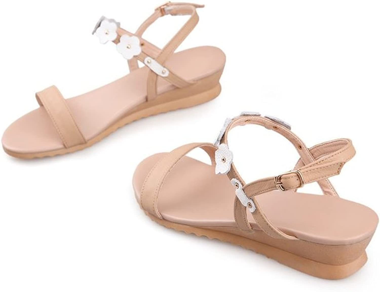 pink town Women Comfort Chunky Low Heel Sandals Flowers Deco Dress Sandals Ankle Strap