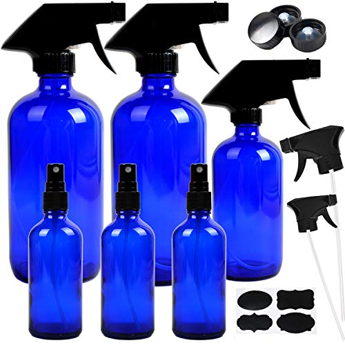 Youngever 6 Pack Empty Cobalt Blue Glass Spray Bottles Refillable Containers, 16 oz 8 oz 4 oz Spray Bottles for Essential Oils, Cleaning Products, Durable Black Trigger Sprayer Fine Mist and Stream