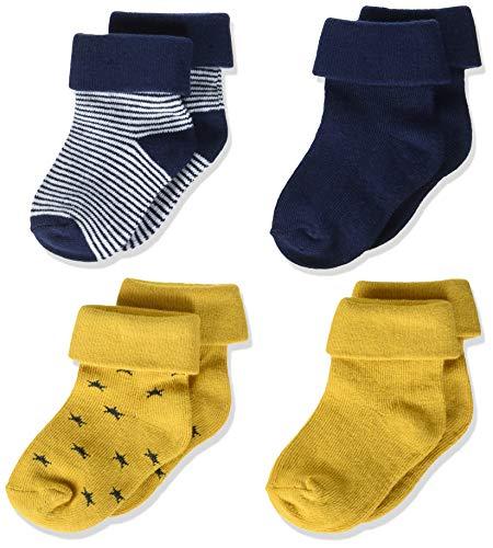 Noppies Baby-Jungen B 4pck Guzz Stripe Navy, Stars Yellow Socken, ASSORTI, 0M-3M