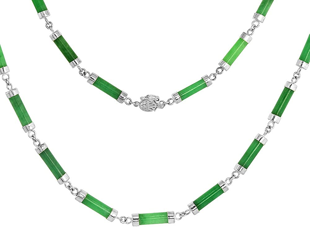unisex Sterling Silver Dyed Green Jade Link inch Large special price Necklace long 18