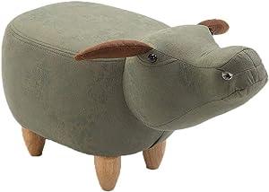 WSJTT Animal Stool, Solid Wood Footstool, Change Shoe Bench, Cow Model Sofa Storage Creative Furniture for Bedroom, Playroom & Living Room
