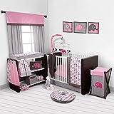 Bacati - Elephants Pink/Grey 10-Piece Nursery in a Bag Girls Crib Baby Bedding Set with 2 Crib Sheets 100% Cotton Fabrics