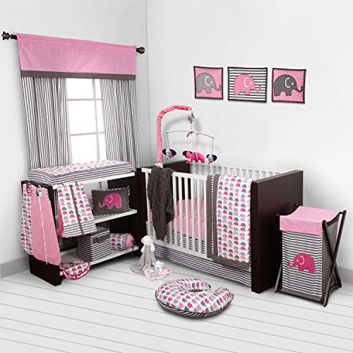Bacati - Elephants Pink/Grey 10-Piece Nursery in a Bag Girls Crib Baby...