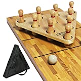 Shuffleboard Bowling Pin Set with Ball, Pinsetter, and Carry Bag Complete Bowling Set for Shuffleboard Table