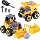 iPlay, iLearn Take Apart Construction Truck Toys, Assembly Vehicle Playset Dump Truck, Bulldozer, Road Roller W/ Screwdriver, Kid STEM Learning Building Gift for 3 4 5 6 Year Olds Boy Toddler Children