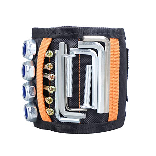 Magnetic Wristband Tool Belt with 15PCS Strong Magnets, Magnetic Wristband for Holding Screws, Nails and Other Hardware Gadgets (Black)