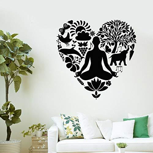 HGFDHG Väggdekal yoga hälsosam livsstil näring kärlek vinyl fönsterklistermärke yoga posera meditation interiör inredning dekorativ konst väggmålning
