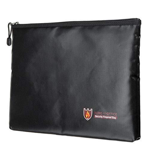QuRRong Bolsas a Prueba de Fuego Fuente Impermeable Impermeable sobre documento Envolvente Carpeta Caja de Efectivo Bolsa de Caja Segura lipo para Pasaporte de Joyería (Color : Black, Size : 27x16cm)