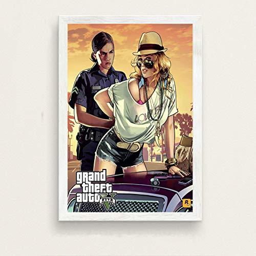 danyangshop Impresión En Lienzo Cubierta Superior del Juego Grand Theft Auto 5 GTA Pintura Superior del Videojuego sobre Lienzo Decoración del Hogar W-3 (50X90Cm) Sin Marco