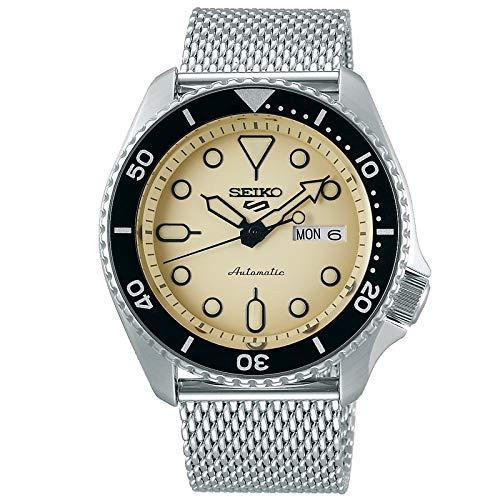 Reloj Seiko 5 Sports automático con Esfera Beige y Correa de Malla, SRPD67K1.